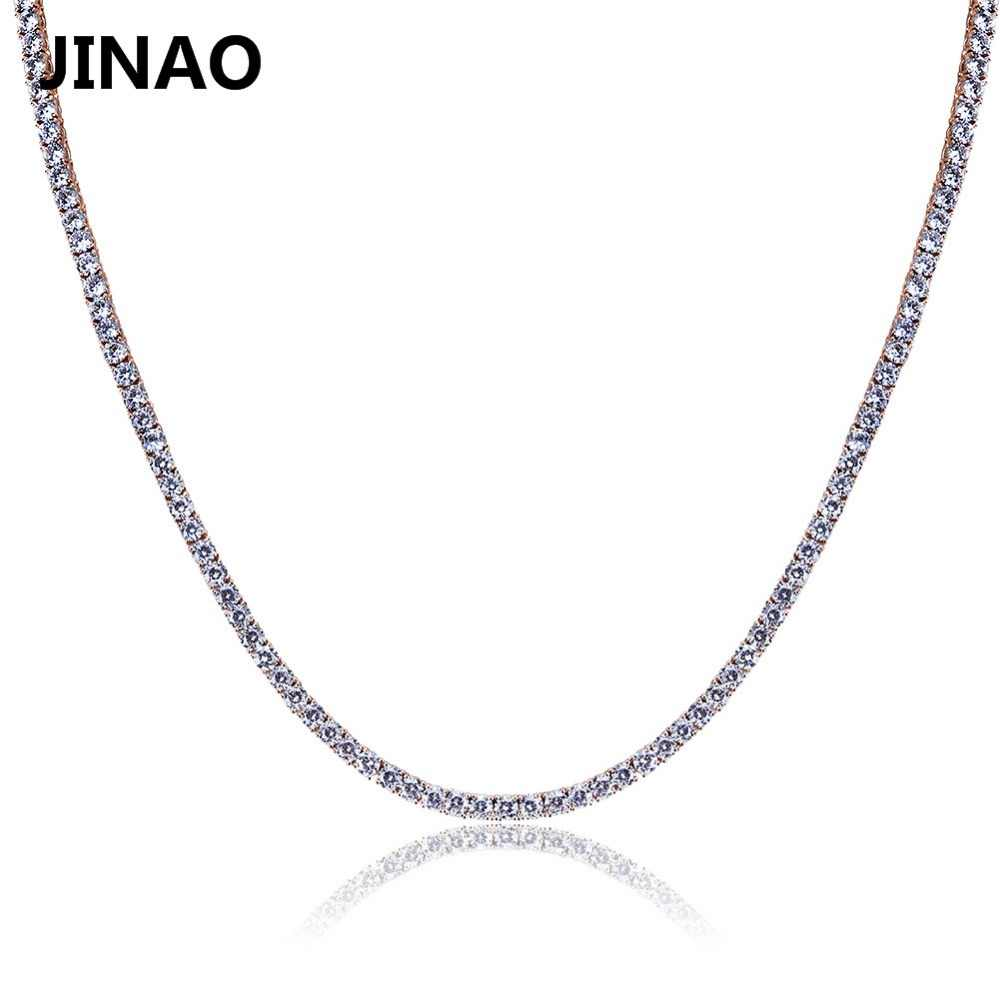 JINAO Gold/Silver/Rosegold Color Iced Out Chain Hip Hop Copper Micro Pave CZ Stone2.5-10mm Tennis Chain Necklace