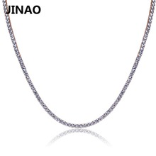 JINAO Gold/Rosegold/Silver Color Iced Out Chain Hip Hop Copper Micro Pave CZ Stone2.5 10mm Tennis Chain Necklace