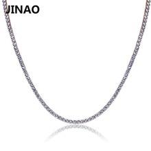 Jinaoゴールド/rosegold/シルバーアイスアウトヒップホップ銅マイクロcz Stone2.5 10ミリメートルテニスチェーンネックレス
