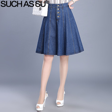 SUCH AS SU Summer Denim Skirt 2017 New Fashion Blue Single Button High Waist A Line Skirt Womens Size S-3XL Female Jean Skirt