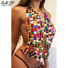 Aimeeka 2017 Women Crop Tops Summer Cropped Mike's Halter Top Club Sexy T Shirt Metal Chain Strap Backless Sequin Tank Camis 2019 sexy tops halter neck women club tops fashion bodycon sequin sexy club night top backless lace up women tank top
