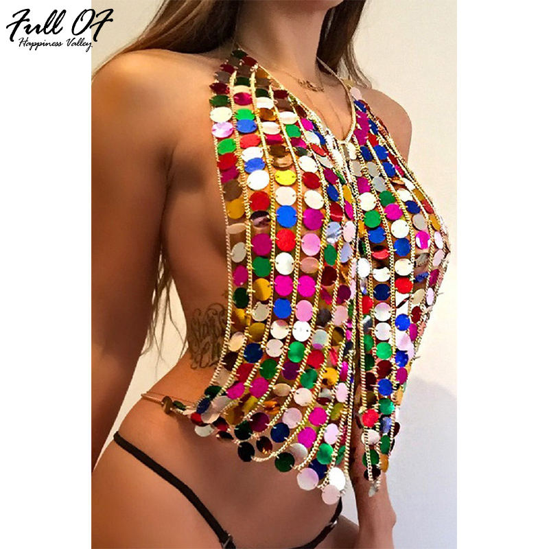 Sexy Women Metal Chain Summer Crop Tops 2017 H Colorful Halter Luxury Nightclub Party T Shirt Backless Sequins Tank Top Camis
