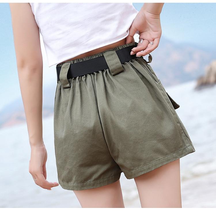 3XL Plus Size Women Summer Shorts With Belt 2019 Fashion Casual Streetwear Cargo Shorts Feminino BF Style Army Green Short Femme 31