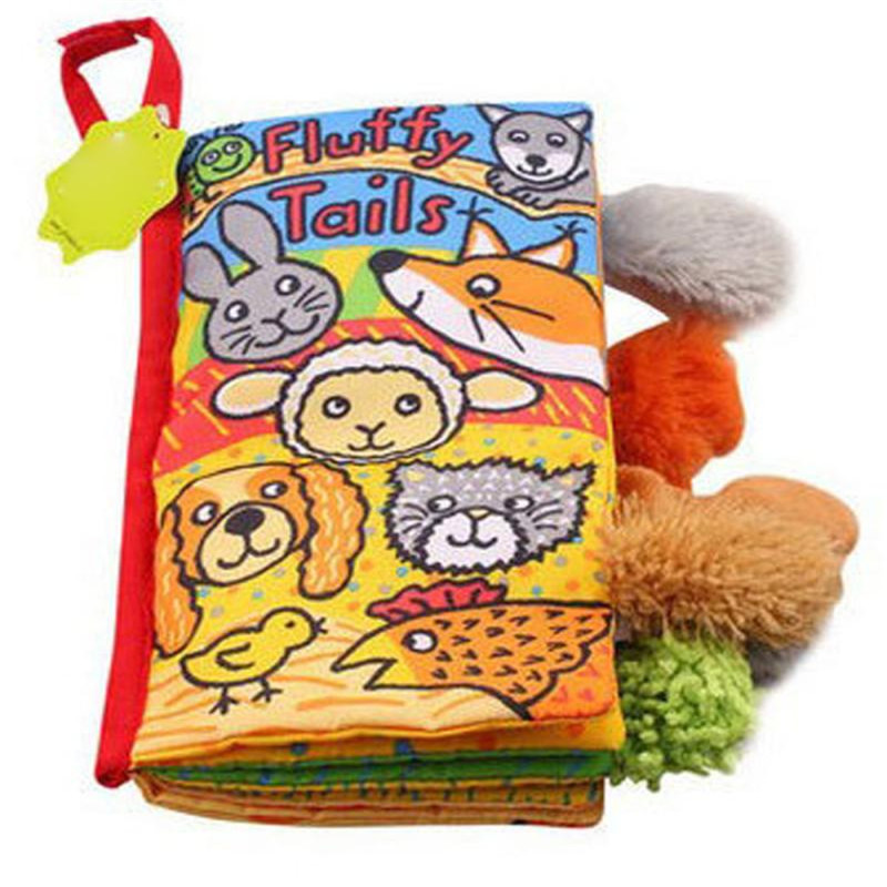 wholesale drop shipping Kids Animal Tails Cloth Book Baby Toy Cloth Development Books Education Books S23JUN5