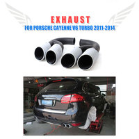 2PCS/Set Engine Stainless Steel Back Quad Exhaust Muffler Tips Fit for Porsche Cayenne V6 Turbo 2011 2014