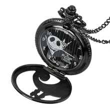 Deep black antique bronze quartz pocket watch necklace vintage clock friendship gift цена