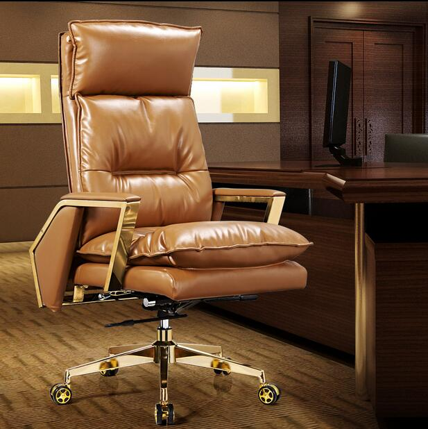 Gold leather boss chair Can lie at the noon hour home office chair The ergonomics of large swivel chair the last camel died at noon amelia peabody book 6