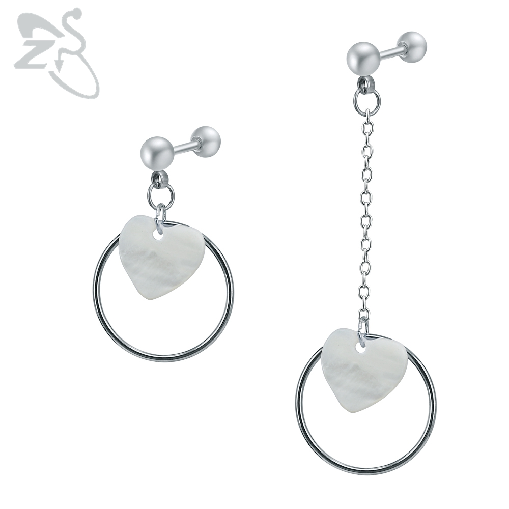 Surgical Steel Dangle Earrings with Shell Hoop Circle Pendant Earring Studs Asymmetry Drop Earrings for Wedding Accessories Gift circle