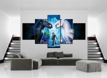 Abstract 5 Pieces HD Painting of How To Train Your Dragon Wall Art