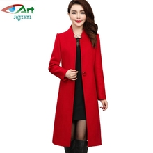 JQNZHNL Mid-aged Women Clothing Woolen Coats Outerwear 2017 New Temperament Medium Long Wool Blends Coats Jackets Plus Size E769