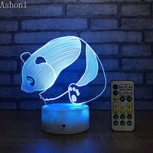 Cute Panda 3D Table Lamp LED Night Light 7 Colors Changing Bedroom Sleep Lighting Home Decor Gifts цена