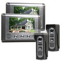 DIYSECUR 2 Monitor 2 Cameras 7 inch Wired Video Door Phone Door Bell System Home Security Entry 2 Way Intercom IR Cameras