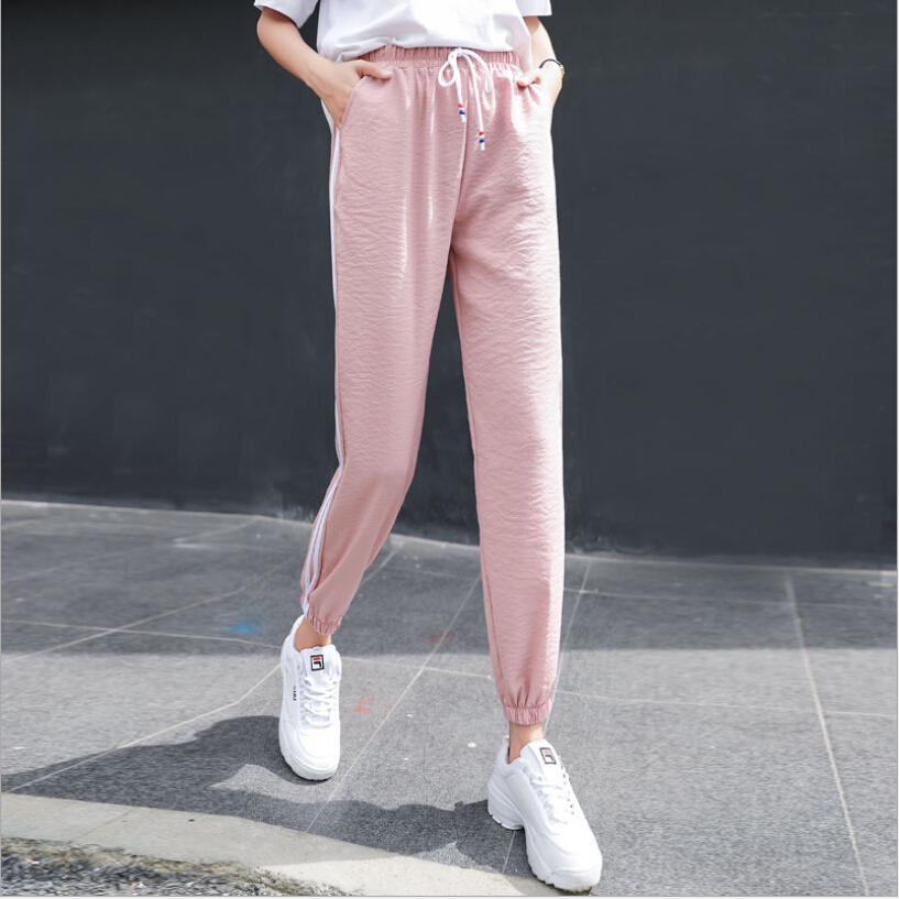 summer new hipster harem pants 2018 women hip-hop Sweatpants harajuku Cropped pants Striped Side Sweat Pants Female size S-3XL