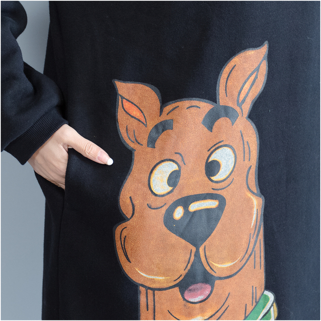 Plus Size 5XL NEW Autumn Winter Women Fashion Kawaii Dog Print Tops Female Ladies Large Big Long Cotton Fleece Sweatshirt Dress