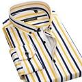 CAIZIYIJIA New 2016 Autumn Long Sleeve Men Striped Casual Shirts Cotton Soft Collar Button-Down Social Slim Fit Men Dress Shirt