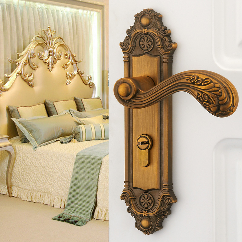 Buy european luxury carved vintage lever - Bedroom door knobs with key lock ...