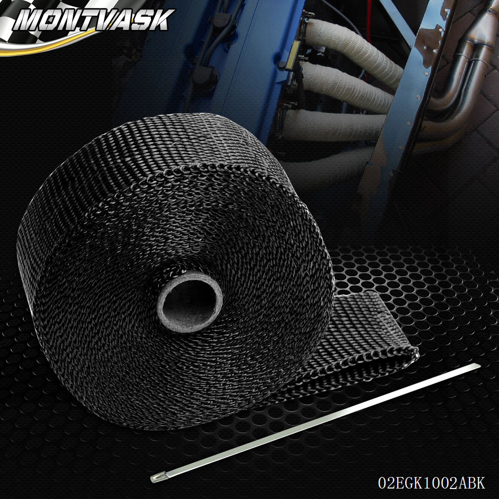 Free Shipping Car Motorcycle 10m Exhaust Heat Wrap Turbo Pipe Heat Insulated + Cable Tie