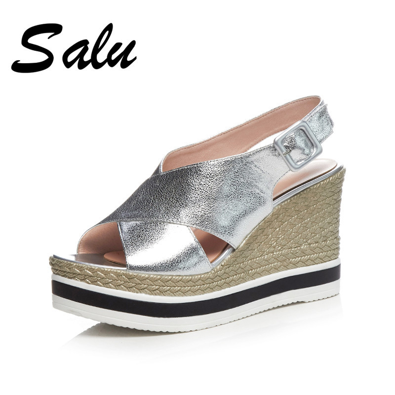 Salu Sexy Women 2019 New Classic Sexy Genuine leather women Sandals Party Shoes Woman Elegant Casual