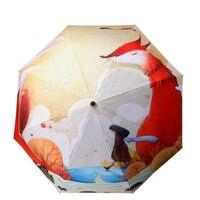 油絵キツネ女性傘雨と晴れuv折りたたみ傘ビーチparaguas防風日傘女の子ギフトプロモーショ