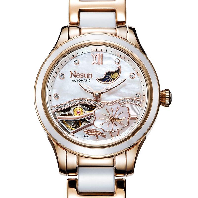 새로운 스위스 nesun 할로우 뚜르 비옹 여성 시계 럭셔리 브랜드 시계 자동 자체 바람 손목 방수 숙녀 시계 N9071 1-에서여성용 시계부터 시계 의  그룹 2