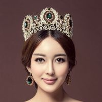 Wholesale crystal princess tiara earrings bride QUEEN CROWN luxury European large crown wedding headdress Wedding hair Jewelry