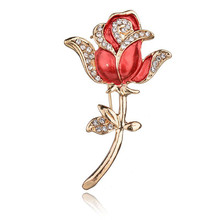 Bros Wanita Mode Elegant Crystal Merah Rose Bros Pins Aksesoris Pakaian Perhiasan Delicate Hadiah Dec19(China)