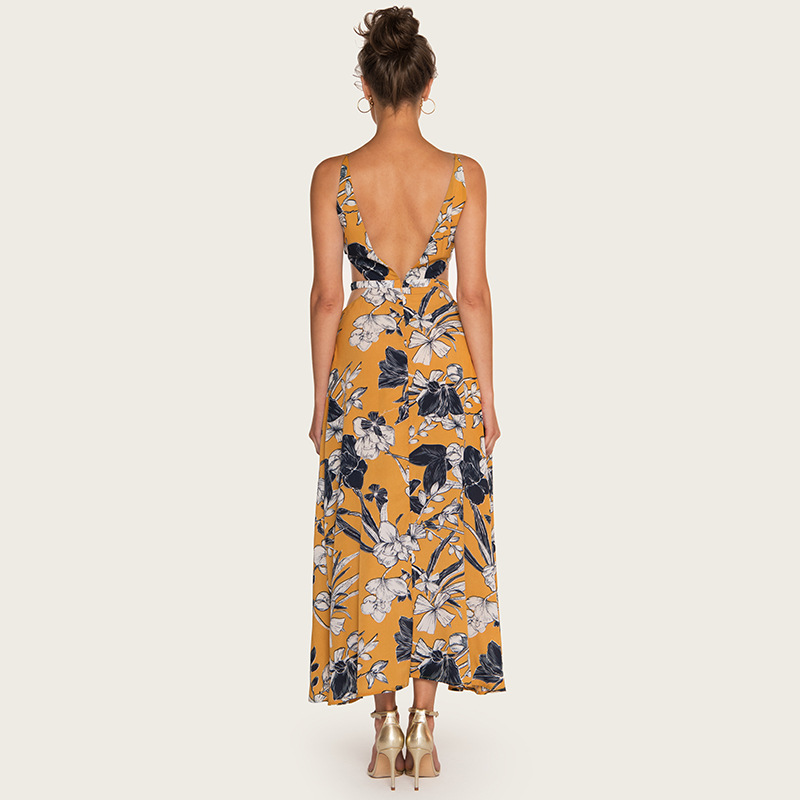 AcFirst Summer Yellow Women Dress Ankle Length Long Dresses V Neck Ruffles Backless Party Sexy Holiday Dresses Beach Sundress in Dresses from Women 39 s Clothing