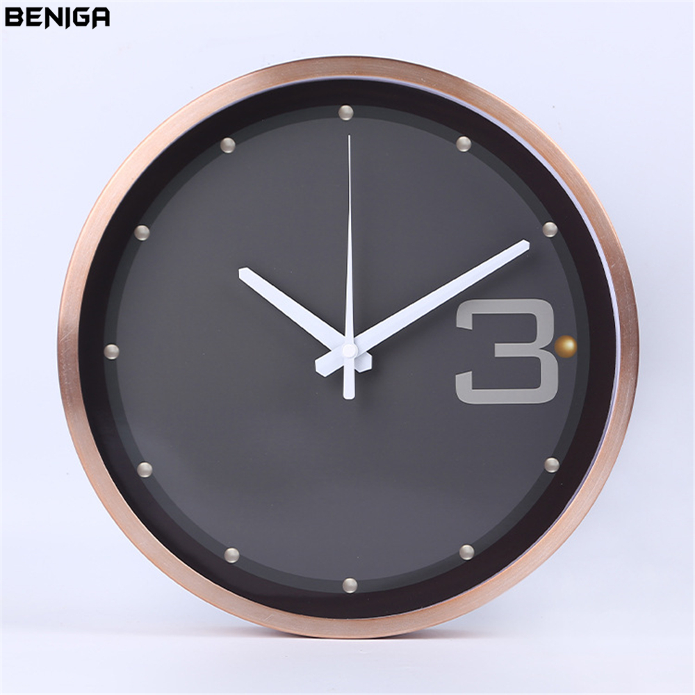12 inch Modern Minimalist Black Rose Gold Wall Clock European Luxury Graceful Round Silently Quartz Needle Wall Clock for Decor