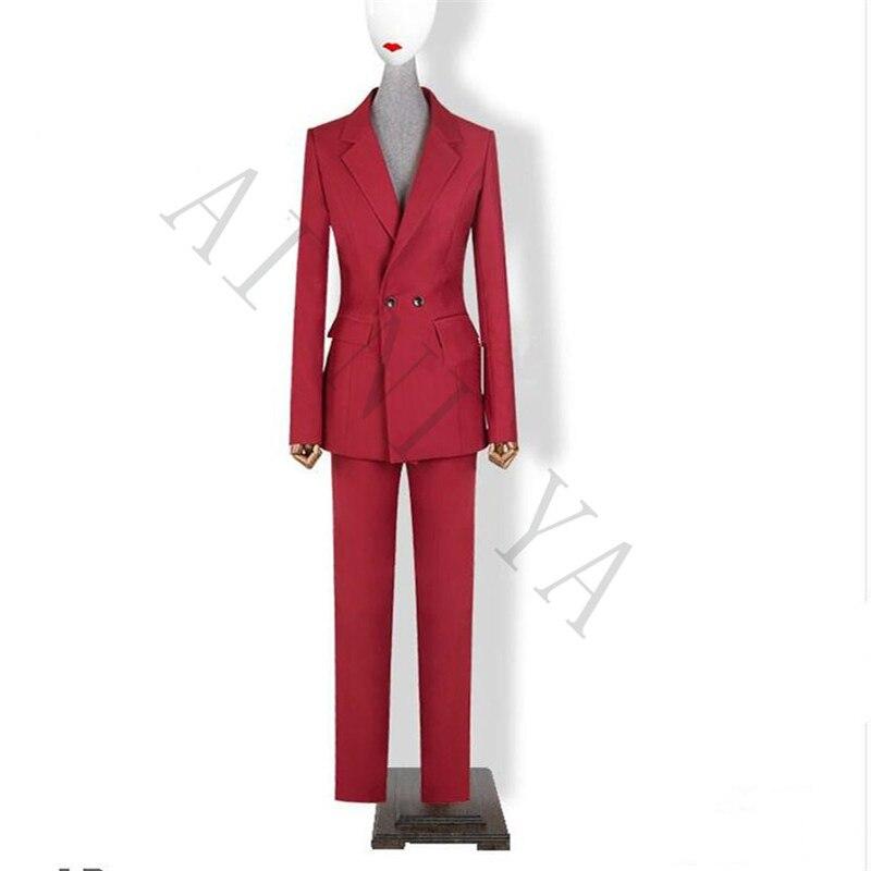 Bunda + kalhoty Dámské obleky Víno Červené Dámské Kancelář Uniforma Formální Práce Dámské Kalhoty Oblek Prom Party 2 sady
