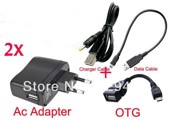 2 pcs UE Plug Carregador de Parede Adaptador De Alimentação 5 V 2A Porta USB + Dados cabo para Archos Arnova 8C G3 Chuwi pad mini-v88 Android Tablet PC