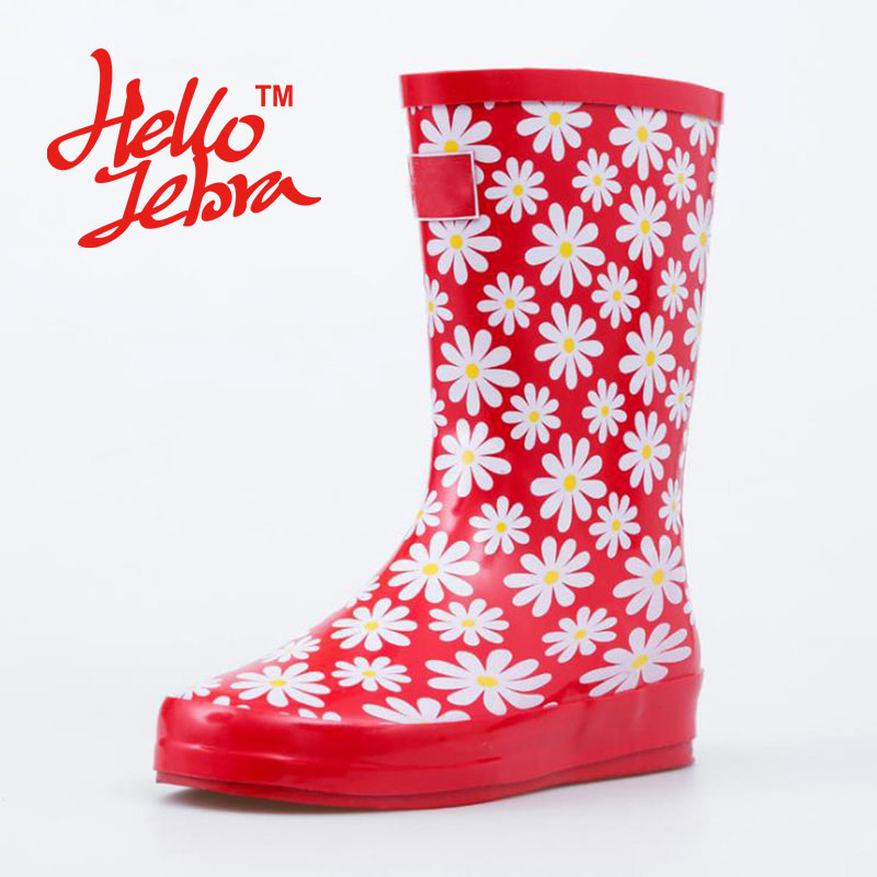 Women Rain Boots Red Printing Flowers Ladies Low Hoof Heels Mid Calf Slip Waterproof Round Toe Rainboots 2016 New Fashion Design women tall rain boots ladies low hoof heels waterproof graffiti buckle high nubuck round toe rainboots 2016 new fashion design