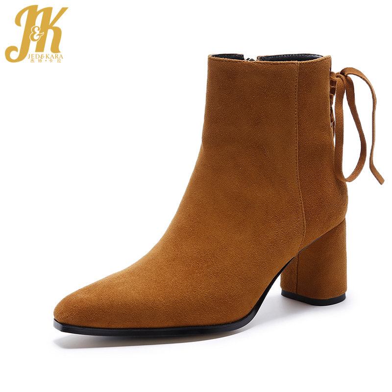 JK Stylish Back Cross-tied Ankle Boots Genuine Leather Autumn Spring Boots High Square Heel Zipper Women Shoes 2018 New Arrival new arrival superstar genuine leather chelsea boots women round toe solid thick heel runway model nude zipper mid calf boots l63