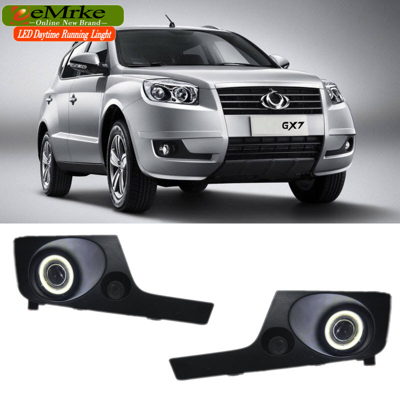EEMRKE For Geely Emgrand X7 2in1 COB LED Angel Eye DRL H11 55W Halogen Fog Lights Lamp Daytime Running Light for opel astra h gtc 2005 15 h11 wiring harness sockets wire connector switch 2 fog lights drl front bumper 5d lens led lamp