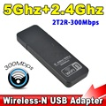 Mini USB Wi-fi Sem Fio Adaptador de Rede Lan 300 Mbps WPS Dual Band 5 GHz 2.4 GHz WiFi Signal Booster Antena Ralink RT5572N