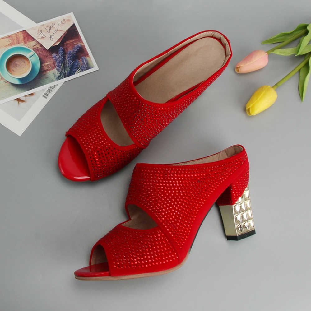 Meotina セクシーな女性靴夏スライドパーティーイブニングチャンキーハイヒールスリッパクリスタルシルバーサンダル女性スライド赤