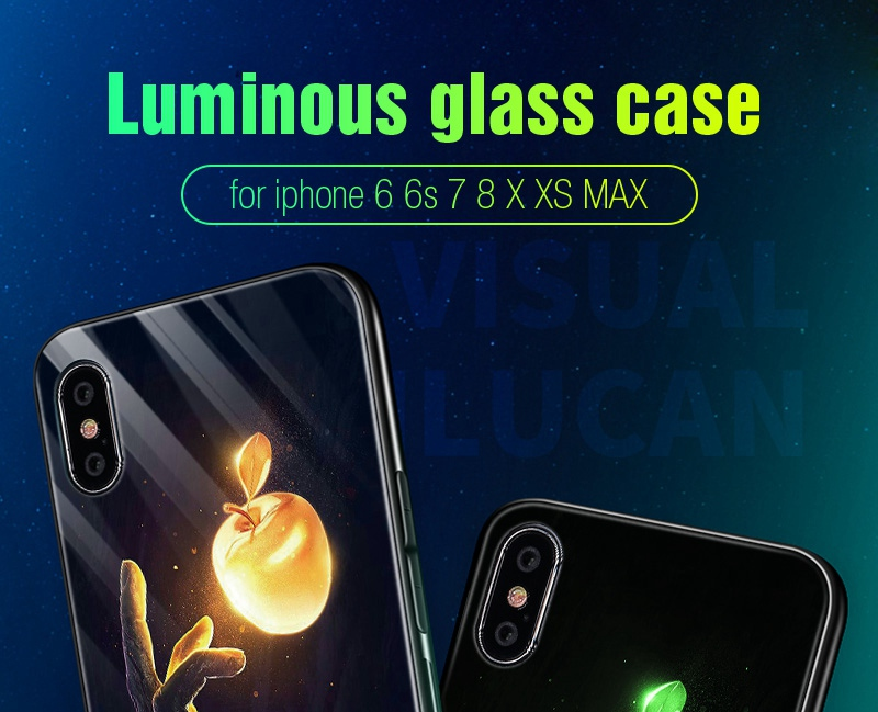Luminous Case For iPhone X XS MAX Case For iPhone 7 6 s 8 Plus X 10 Luxury PC+Tempered Glass Pattern Silicone Edge Cover (4)