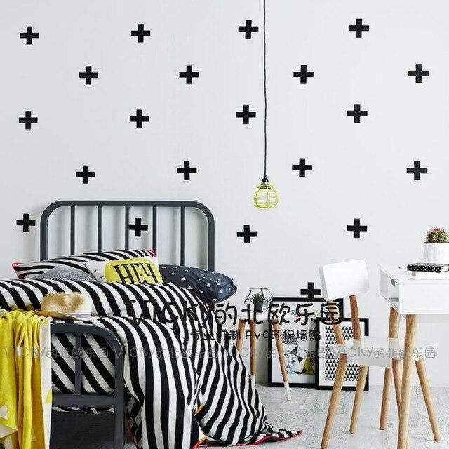 zn a052 80pcs set kid's bedroom pvc wall stickers cross plus wall