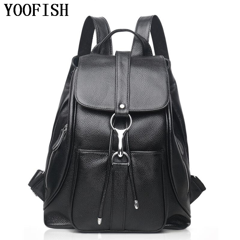 YOOFISH Casual Backpack Women Genuine Cow Leather Bag High Quality Women Backpack Mochila Feminina School Bag For Teenagers weave backpack women genuine leather bag women bag cow leather women backpack mochila feminina school bags for teenagers li 1390