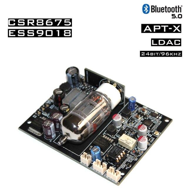 DYKB 12AU7 Tube CSR8675 Bluetooth 5.0 Audio Receiver Board ES9018 decoder DAC 12s signal APTX AUX for 12v 24v car Amplifier