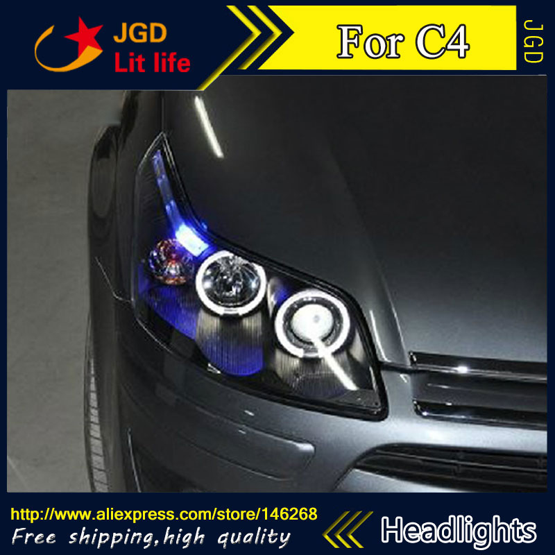 Free shipping ! Car styling LED HID Rio LED headlights Head Lamp case for Citroen C4 Bi-Xenon Lens low beam
