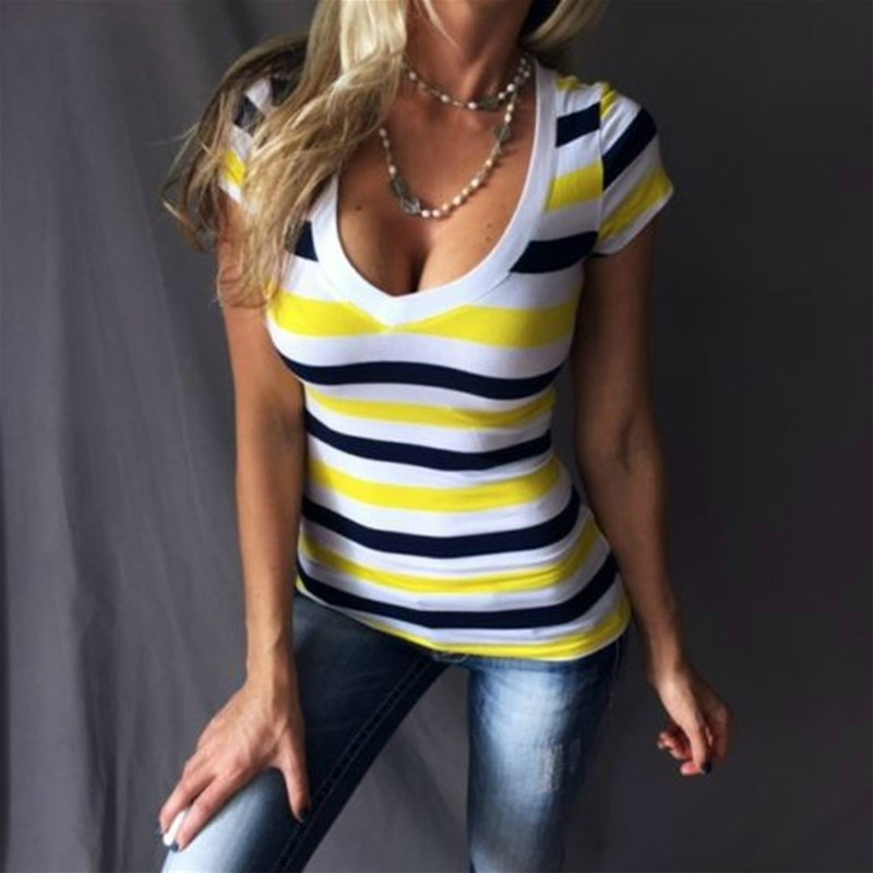 JXP GJZ летняя футболка Для женщин рубашка белая футболка полосатый топ v-образным вырезом Футболка синий бак размеры s m l xl Повседневное футбол...