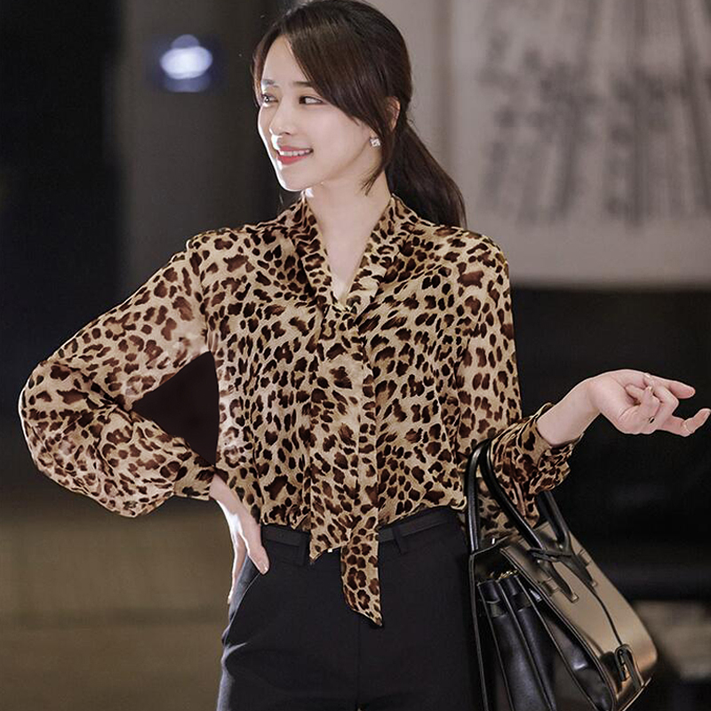 CHAOJUE 2018 Spring/Autumn Long Sleeve Leopard Shirt Office Lady Causal Plus Size Blouse Women Fashion Top Clothes Free Shipping