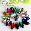 4x8mm 50pcs/lot Opal Horse Eye Crystal glass Sew On Rhinestone with Claw apply to Clothing Decoration