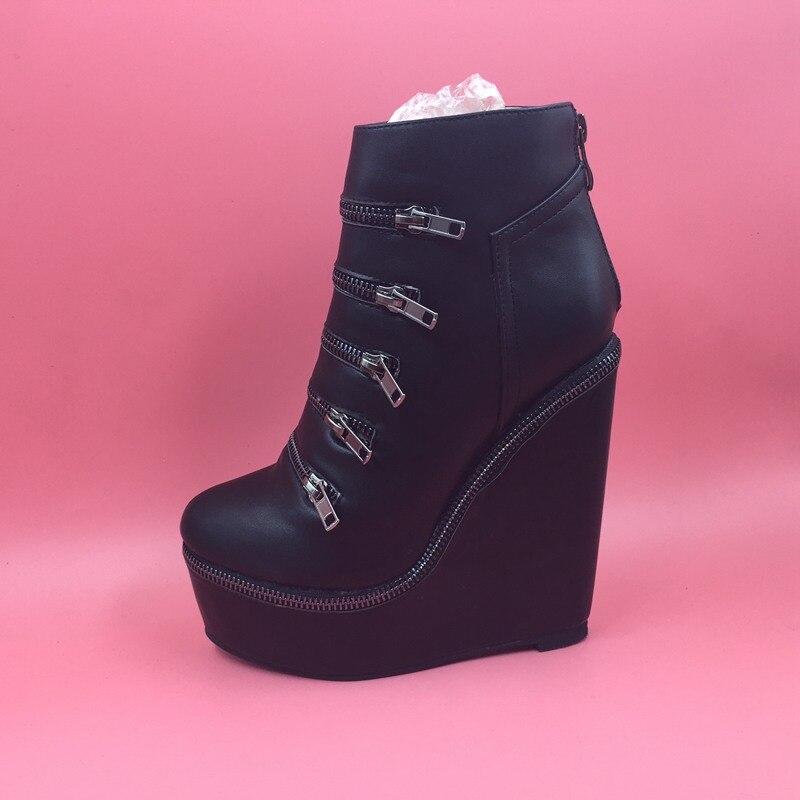 Черные зимние сапоги Для женщин танкетке Платформа круглый носок Дамские ботиночки; Женская обувь Altas Mujer Женская зимняя обувь сапоги с мехо