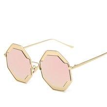 Nuevo Metal de La Manera de las mujeres gafas de sol de diseñador de la marca Oculos Verano Redondo Estilo Gafas Mujer gafas de Sol Espejo gafas de sol mujer