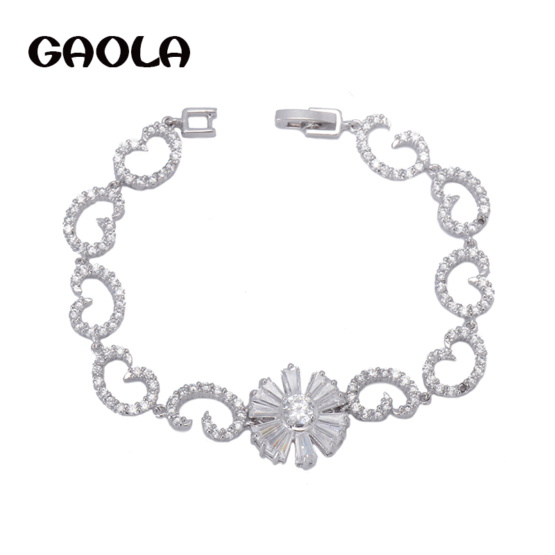 2015 Hot Fashion Exquisite White Gold Plated Flower Shape AAA Cubic Zirconia Bracelets Engagement Gift For