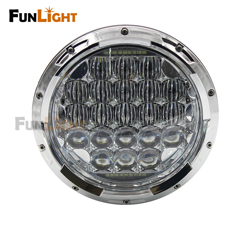 New Chrome 5D 7inch LED Headlights Kit 75W H4 Hi/low Auto Headlight With DRL For Jeep Wrangler JK TJ Hummer Defender acquanegra 5036 m144