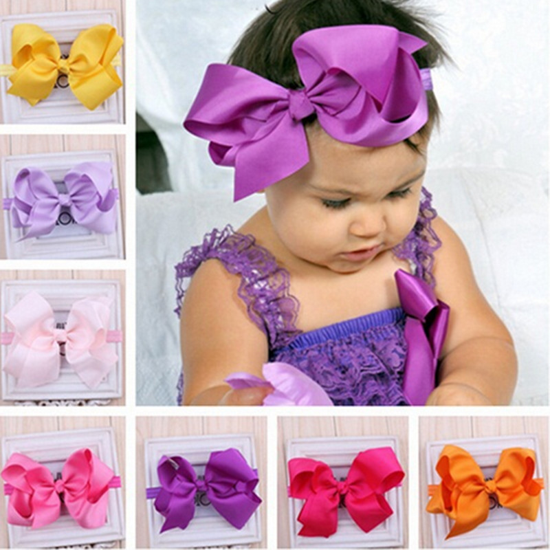 Bow Girls Kids Elastics Hair Head Bands Flower Headband Accessories For Newborns Hair Satin Ribbon Bows Hairband Headwrap Tiaras