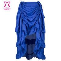 Corzzet Blue Ruffle Front Short Back Long Adjustable Gothic Steampunk Skirt For Women Matching Corset