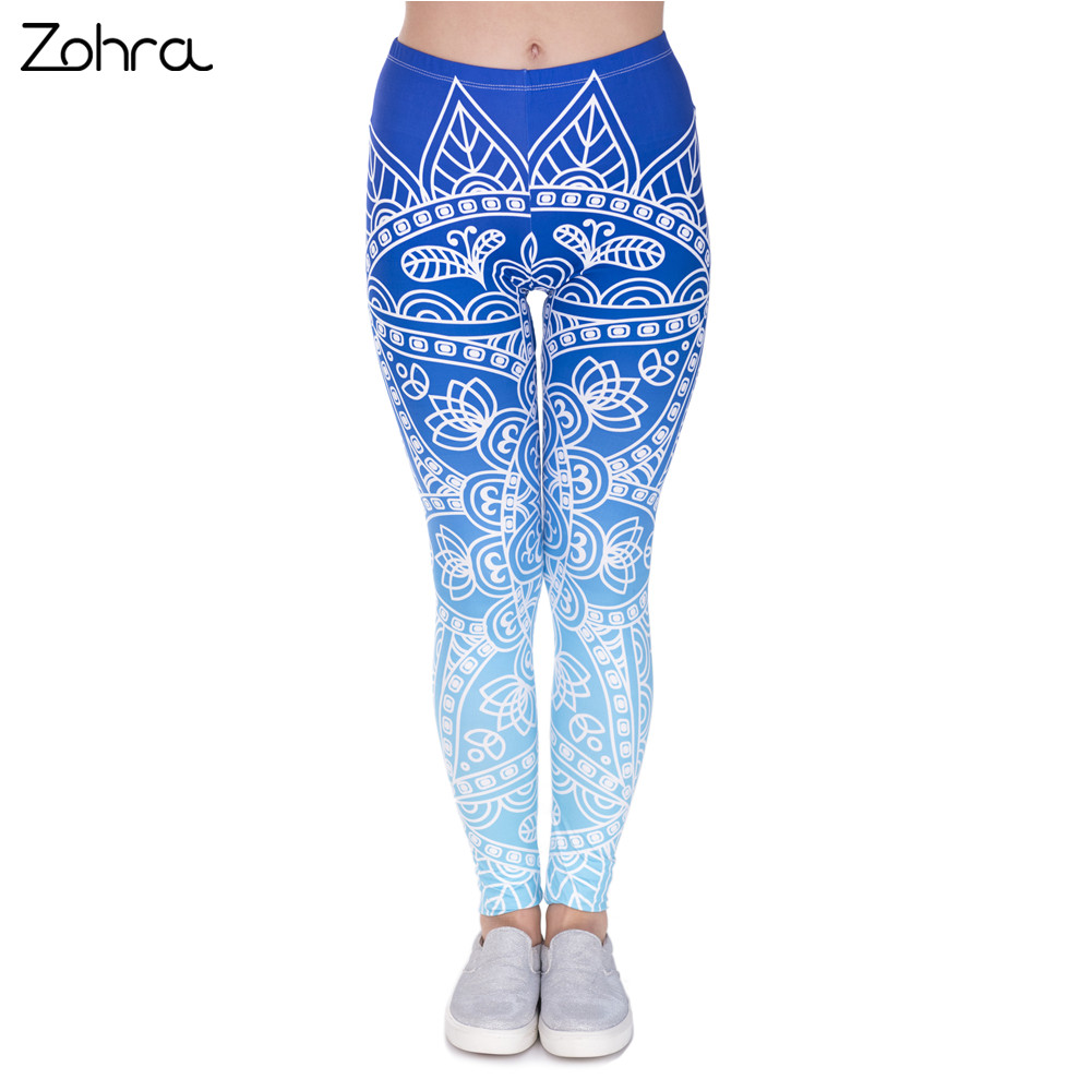 Zohra High Quality Kvinder Legins Mandala Ombre Blue Udskrivning Legging Fashion Casual High Waist Woman Leggings